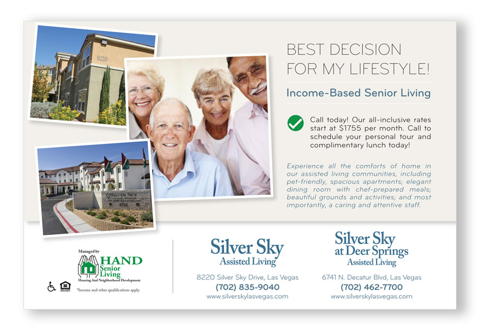 Las Vegas non-profit postcard direct mail advertising design
